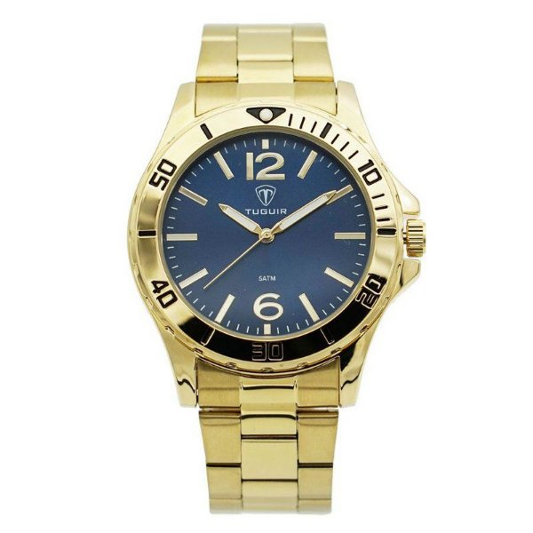 Relógio Masculino Tuguir Analógico 5346G - Dourado e Azul
