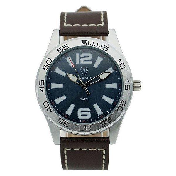 Relógio Masculino Tuguir Analógico 3252G Prata e Marrom
