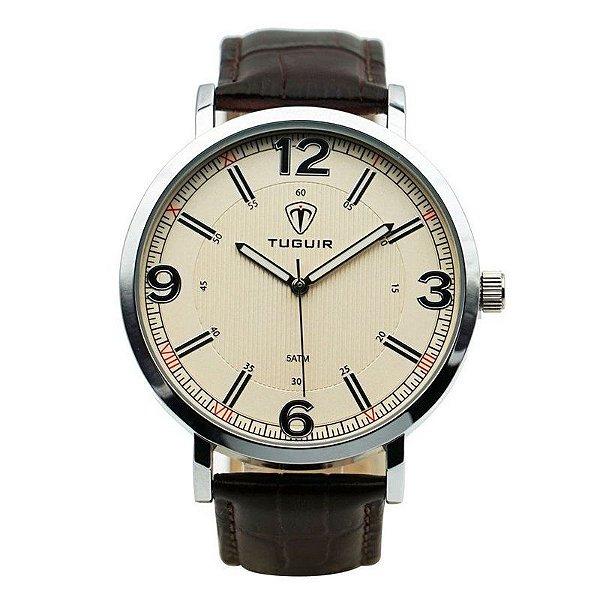 Relógio Masculino Tuguir Analógico 5444G - Marrom e Prata