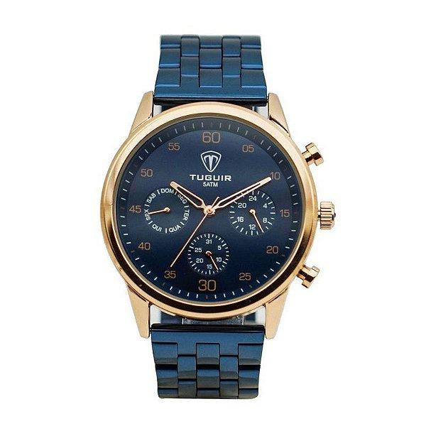 Relógio Masculino Tuguir Analógico 5327G Azul e Rose