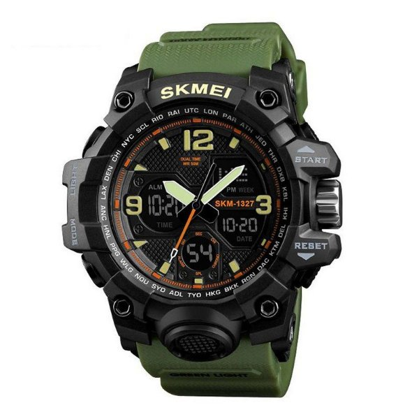 Relógio Masculino Skmei Anadigi 1327 Preto e Verde