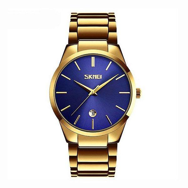 Relógio Masculino Skmei Analógico 9140 Dourado e Azul