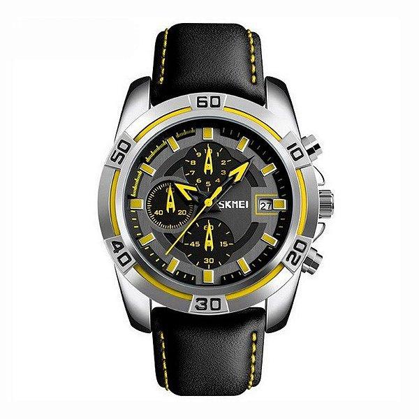 Relógio Masculino Skmei Analógico 9156 - Preto, Prata e Amarelo
