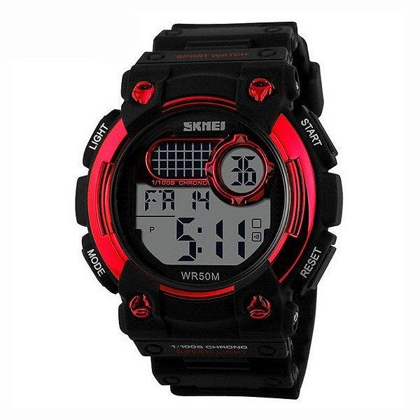 Relógio Masculino Skmei Digital 1054 Preto e Vermelho