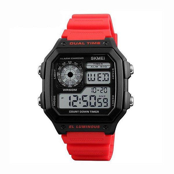 Relógio Masculino Skmei Digital 1299 Preto e Vermelho