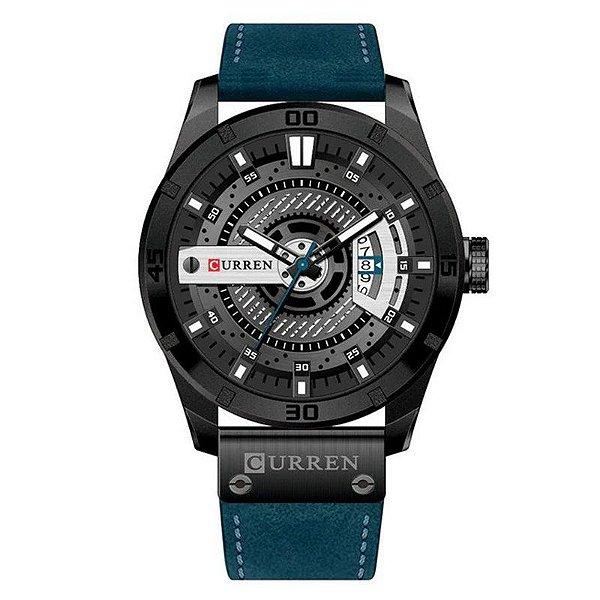 Relógio Masculino Curren Analógico 8301 - Azul e Preto