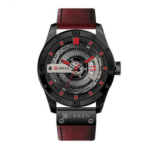Relógio Masculino Curren Analógico 8301 - Preto e Vermelho