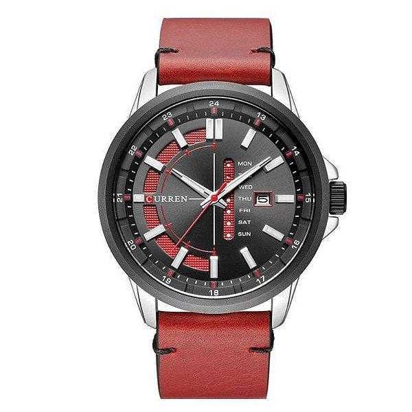 Relógio Masculino Curren Analógico 8307 - Prata e Vermelho