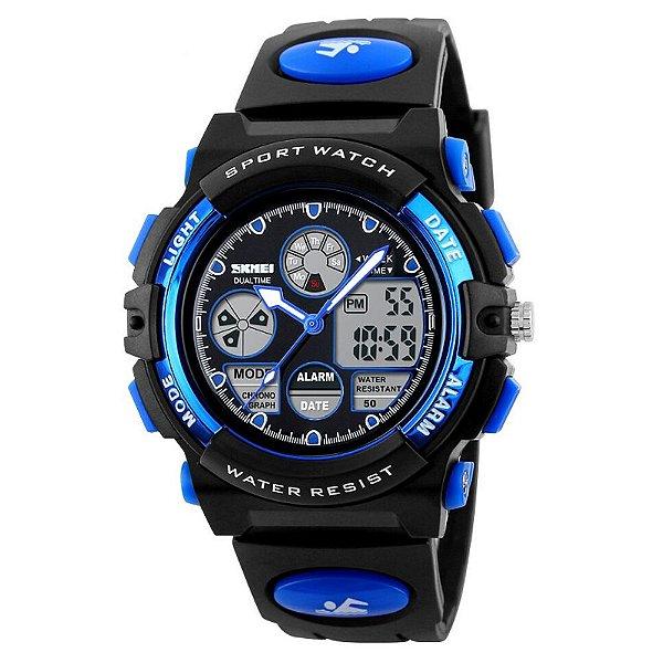 Relógio Infantil Skmei Anadigi 1163 Preto e Azul