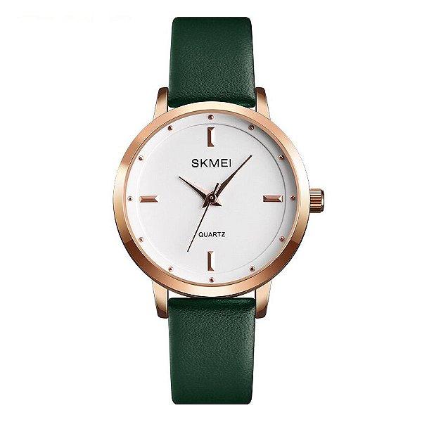 Relógio Feminino Skmei Analógico 1457 - Verde e Rosê