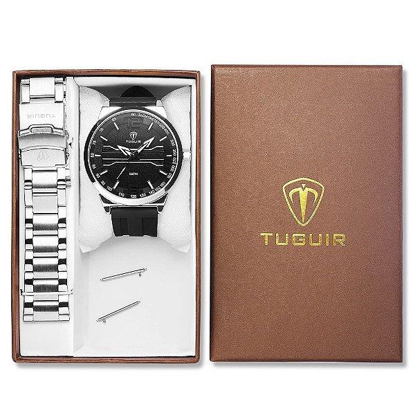 Relógio Masculino Tuguir Analógico TG105 - Preto e Prata