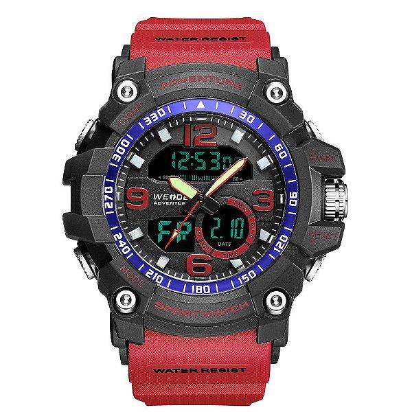 Relógio Masculino Weide AnaDigi WA3J8001 - Vermelho e Preto