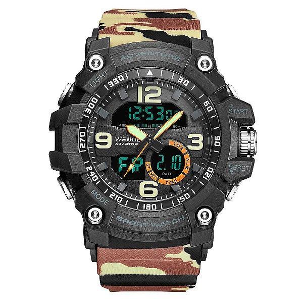 Relógio Masculino Weide AnaDigi WA3J8001 - Bege Camuflado e Preto