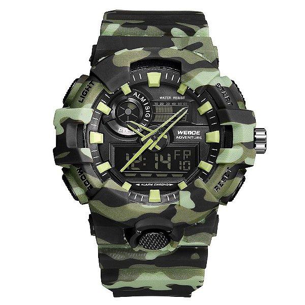 Relógio Masculino Weide AnaDigi WA3J8007 - Verde Camuflado