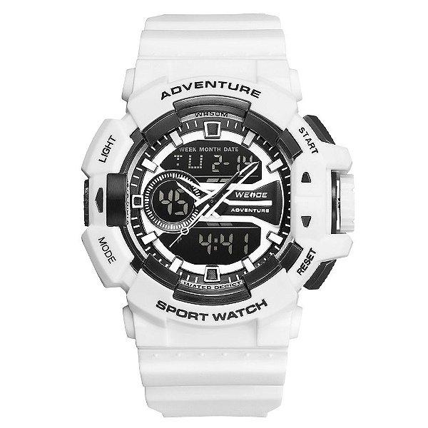 Relógio Masculino Weide AnaDigi WA3J8002 - Branco e Preto
