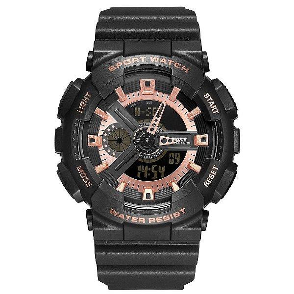 Relógio Masculino Weide AnaDigi WA3J8004 - Preto e Rosê