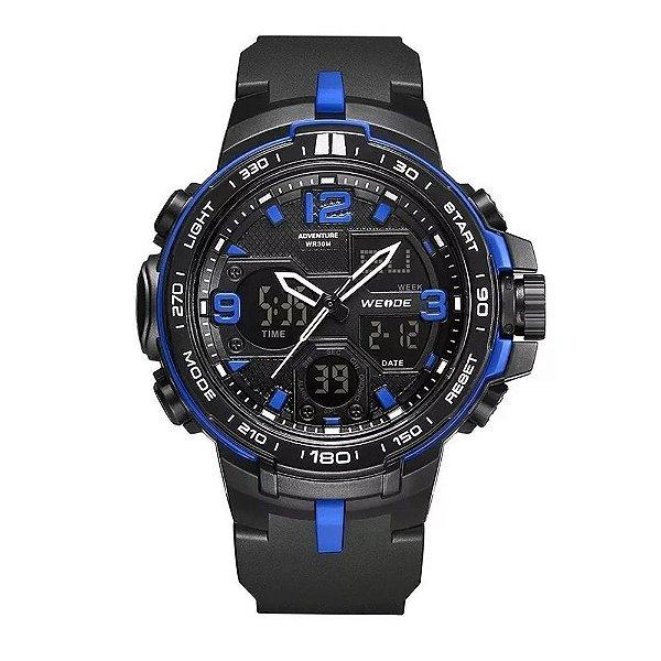 Relógio Masculino Weide AnaDigi WA3J8005 - Preto e Azul