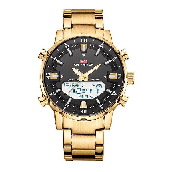 Relógio Masculino Kat-Wach AnaDigi KT1815 - Dourado e Preto