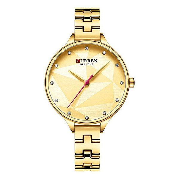 Relógio Feminino Curren Analógico C9047L - Dourado