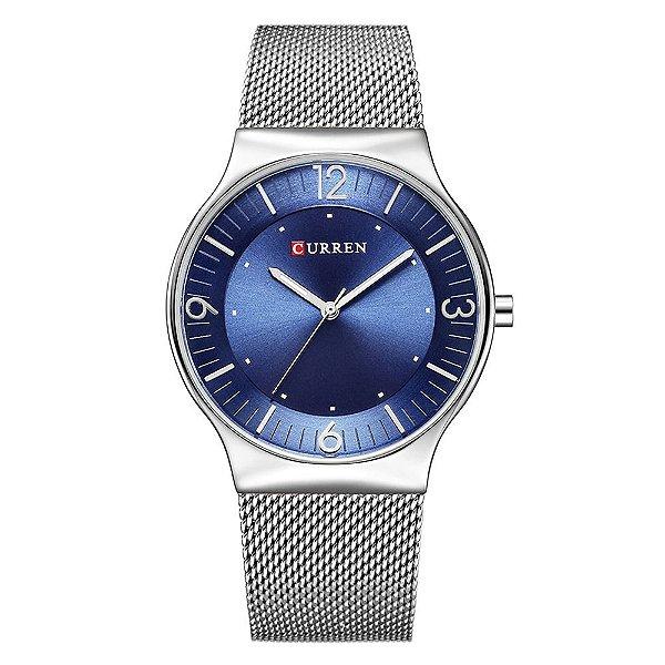 Relógio Feminino Curren Analógico 8304 - Prata e Azul