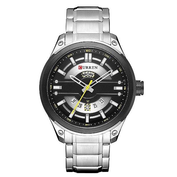 Relógio Masculino Curren Analógico 8319 - Prata e Preto