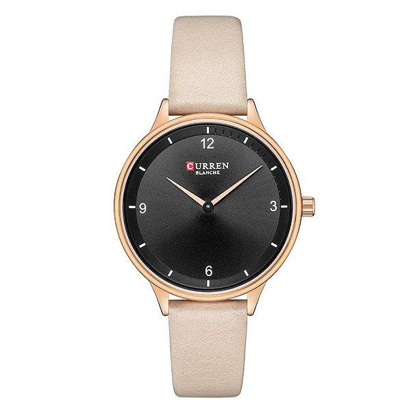 Relógio Feminino Curren Analógico C9039L - Preto e Bege