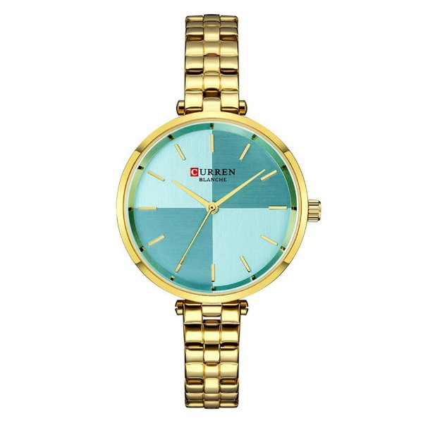 Relógio Feminino Curren Analógico C9043L - Dourado e Azul