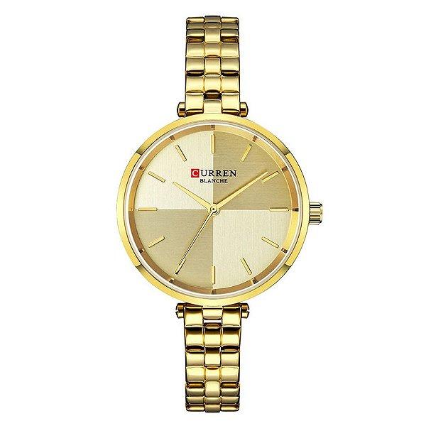 Relógio Feminino Curren Analógico C9043L - Dourado