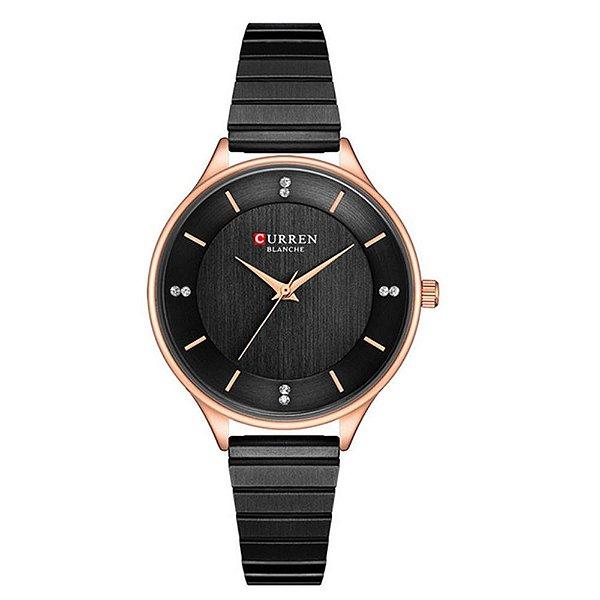 Relógio Feminino Curren Analógico C9041L - Preto e Rose