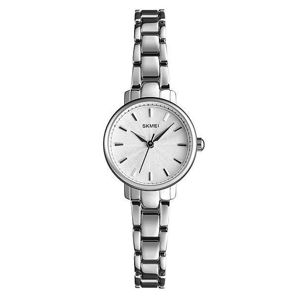 Relógio Feminino Skmei Analógico 1410 - Prata e Branco