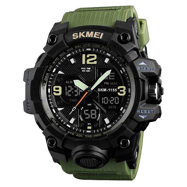 Relógio Masculino Skmei AnaDigi 1155B - Preto e Verde