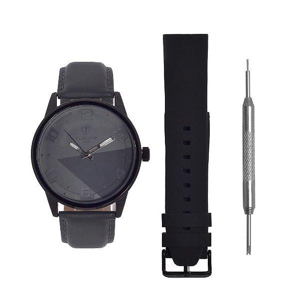 Kit Relógio Masculino Tuguir Analógico 5050 - Cinza e Preto