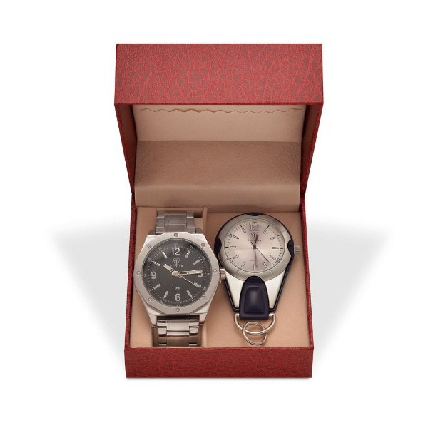 Kit Relógio Masculino Tuguir Analógico 5033 e Relógio Chaveiro 5506G