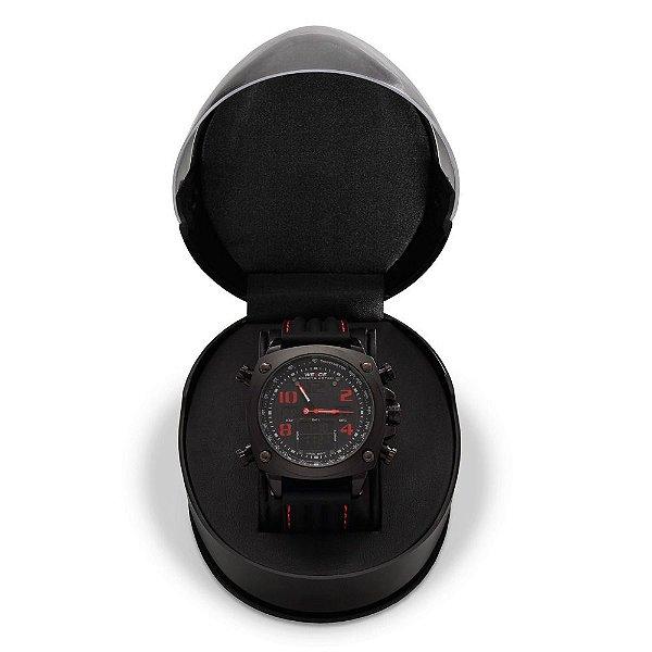 Relógio Masculino Weide AnaDigi WH-5208 - Preto e Vermelho