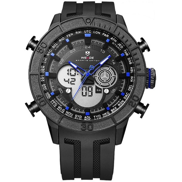 Relógio Masculino Weide AnaDigi WH-6308 - Preto e Azul