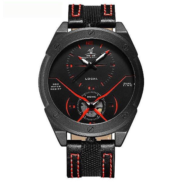 Relógio Masculino Weide Analógico UV-1703 - Preto e Vermelho