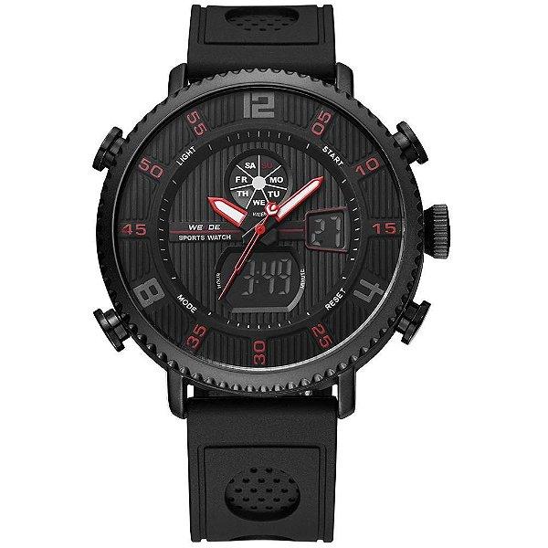 Relógio Masculino Weide AnaDigi WH-6106 - Preto e Vermelho
