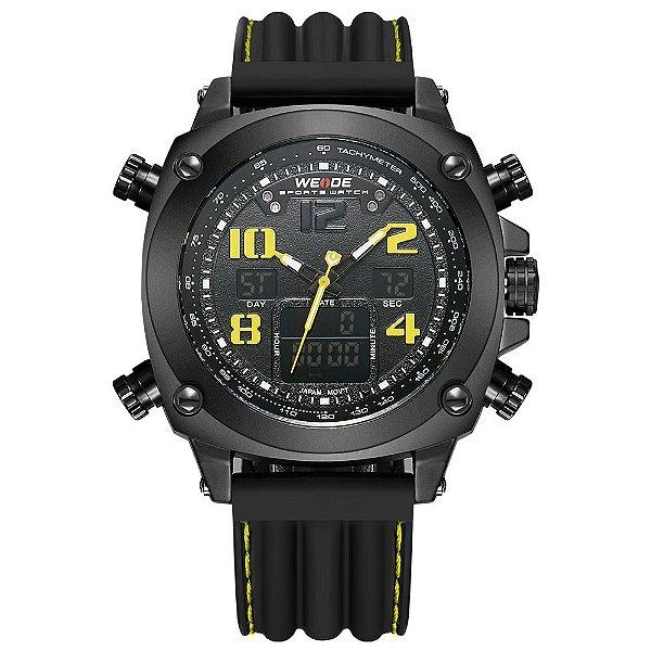 Relógio Masculino Weide AnaDigi WH-5208 - Preto e Amarelo