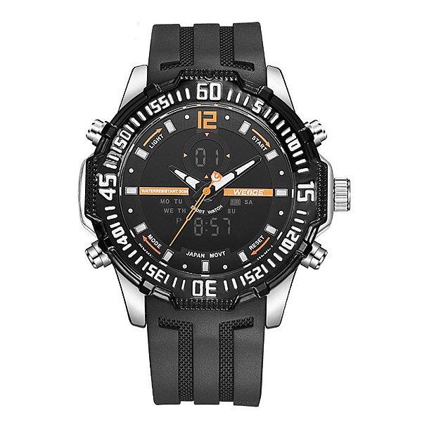 Relógio Masculino Weide AnaDigi WH-6105 - Preto e Laranja