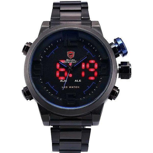 Relógio Masculino Shark AnaDigi DS011S - Preto e Azul