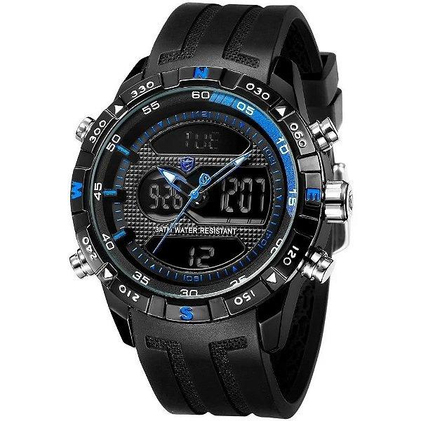 Relógio Masculino Shark AnaDigi DS0381 - Preto e Azul