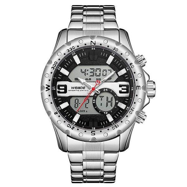 Relógio Masculino Weide AnaDigi WH8502 - Prata e Preto