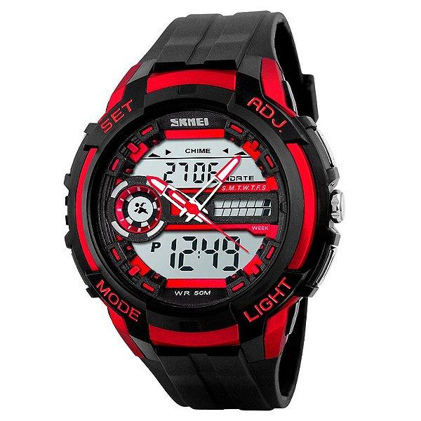 Relógio Masculino Skmei AnaDigi 1202 - Preto e Vermelho
