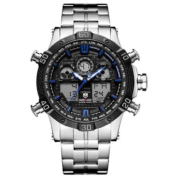 Relógio Masculino Weide AnaDigi WH6901 - Prata e Preto