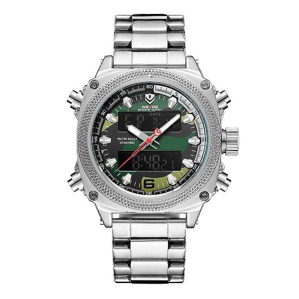 Relógio Masculino Weide AnaDigi WH7302 - Prata e Camuflado