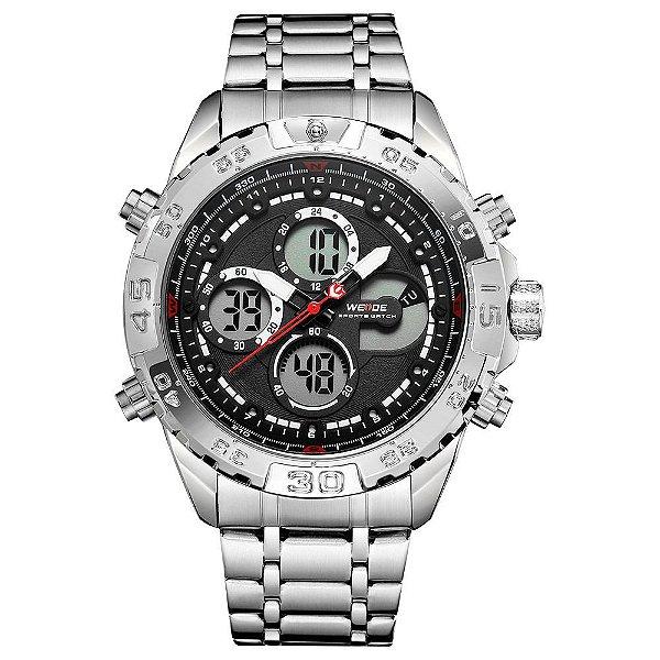 Relógio Masculino Weide AnaDigi WH6909 - Prata e Preto