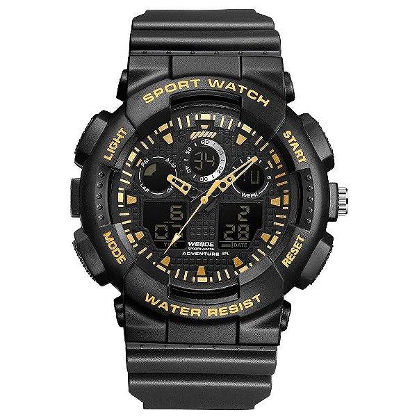 Relógio Masculino Weide AnaDigi WA3J8003 - Preto e Dourado