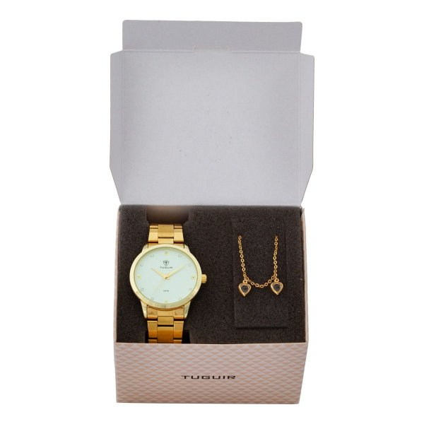 Kit Relógio Feminino Tuguir Analógico TG115 - Dourado com Brinde