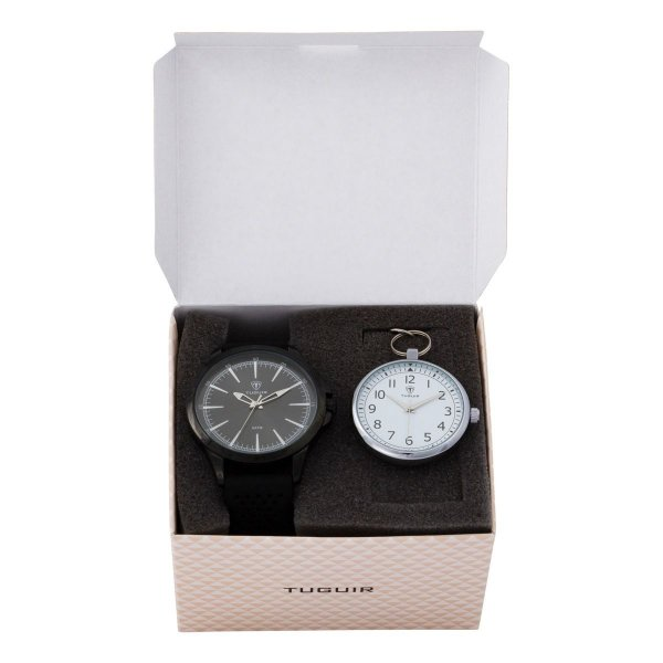 Kit Relógio Masculino Tuguir Analógico TG100 - Preto com Brinde
