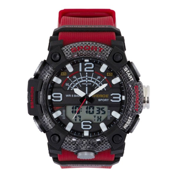 Relógio Masculino Weide AnaDigi WA3J9001 - Vermelho e Preto